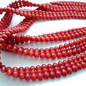 Материалы для творчества handmade. Livemaster - original item Coral beads curly, thread 54шт. Handmade.