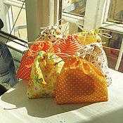 Материалы для творчества ручной работы. Ярмарка Мастеров - ручная работа Мешочек из хлопка с бусинками 99. Handmade.