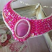 Украшения ручной работы. Ярмарка Мастеров - ручная работа Колье розово-цветочное. Handmade.