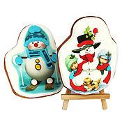 Подарки к праздникам ручной работы. Ярмарка Мастеров - ручная работа Снеговик в глазури, печенье с фотопечатью. Handmade.