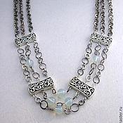 "Украшения handmade. Livemaster - original item Metallic chained necklace with moonstone ""Narbonne"". Handmade."