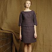 Одежда ручной работы. Ярмарка Мастеров - ручная работа Костюм женский летний деловой льняной, костюм юбка, топ цвета баклажан. Handmade.