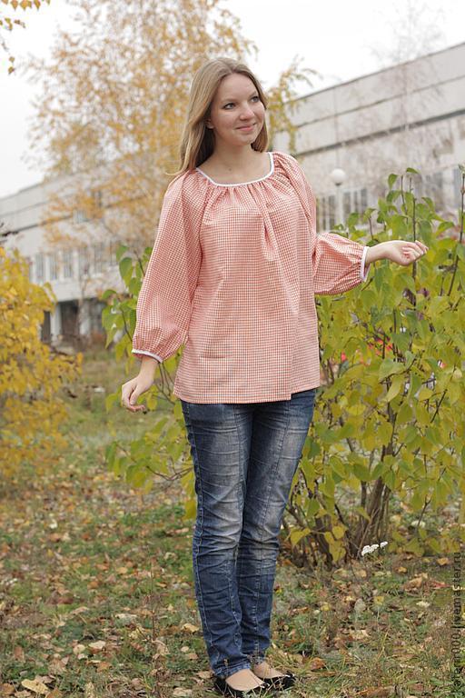 """Блузки ручной работы. Ярмарка Мастеров - ручная работа. Купить Рубашка """"Крестьянка"""". Handmade. Оранжевый, этно"""