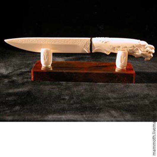 Элементы интерьера ручной работы. Ярмарка Мастеров - ручная работа. Купить Нож с головой дракона из бивня мамонта на яшме. Handmade.