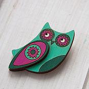 Украшения handmade. Livemaster - original item The wooden Owl brooch. Handmade.