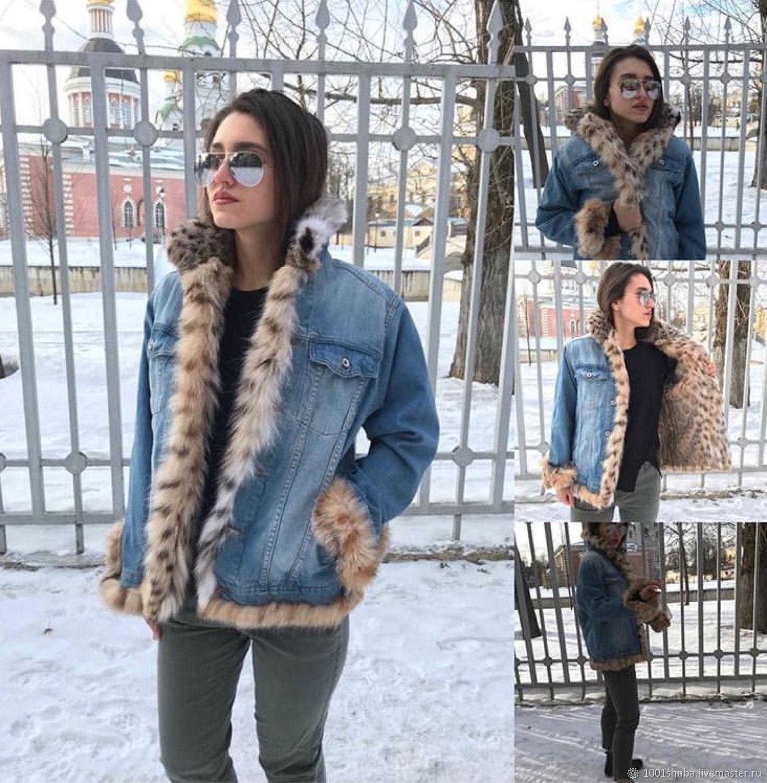 Denim jacket with lynx fur, Outerwear Jackets, Moscow,  Фото №1