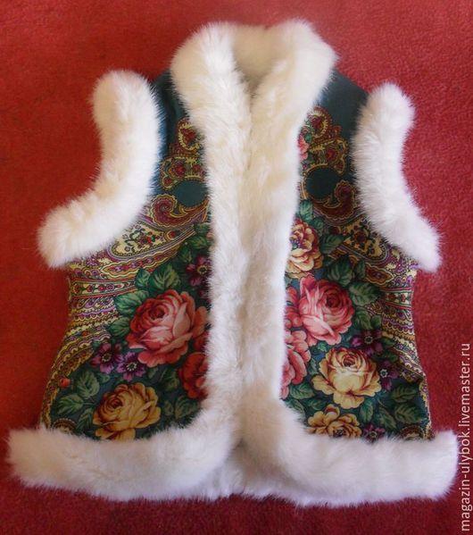 Одежда для девочек, ручной работы. Ярмарка Мастеров - ручная работа. Купить Жилет из павловопосадского платка, детский. Handmade. Цветочный