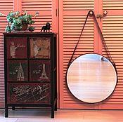 Для дома и интерьера ручной работы. Ярмарка Мастеров - ручная работа Круглое зеркало на КОРИЧНЕВОМ кожаном ремне. Handmade.