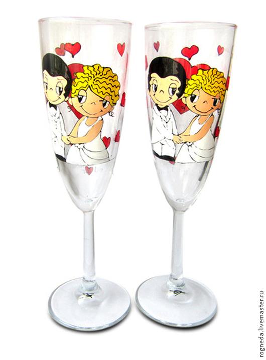 Свадебные аксессуары ручной работы. Ярмарка Мастеров - ручная работа. Купить Love is... Свадебные бокалы (0727). Handmade.