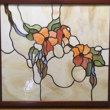 """Для дома и интерьера ручной работы. Ярмарка Мастеров - ручная работа Витражи: Витраж(тиффани) - """"Цветочная лоза"""". Handmade."""