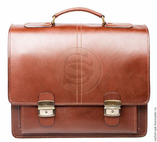"""Мужские сумки ручной работы. Ярмарка Мастеров - ручная работа. Купить Кожаный портфель """"Адвокат-2"""" коричневый. Handmade. Коричневый"""
