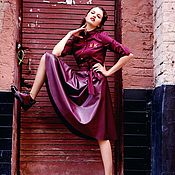 Одежда handmade. Livemaster - original item Silk MIDI dress with leather skirt. Handmade.
