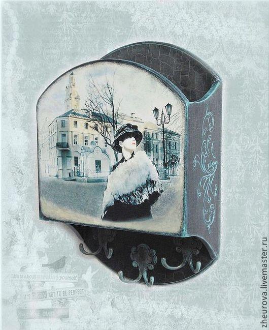 """Прихожая ручной работы. Ярмарка Мастеров - ручная работа. Купить Ключница """"Девушка со старой фотографии"""". Handmade. Темно-серый"""
