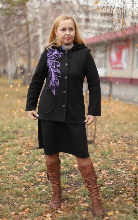 """Верхняя одежда ручной работы. Ярмарка Мастеров - ручная работа. Купить Теплая куртка """"Современница"""". Handmade. Черный, шерсть"""
