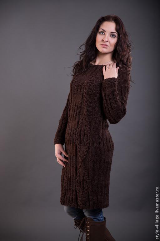 """Кофты и свитера ручной работы. Ярмарка Мастеров - ручная работа. Купить Платье-свитер """"Шоколадка"""". Handmade. Коричневый, свитер вязаный"""