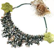 Necklace handmade. Livemaster - original item Knitted necklace Waterfall. Handmade.