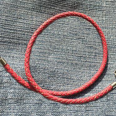 Украшения ручной работы. Ярмарка Мастеров - ручная работа Шнурок 4,0мм розовый плетеная натуральная кожа. Handmade.