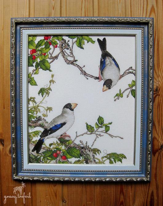 """Картины цветов ручной работы. Ярмарка Мастеров - ручная работа. Купить Вышивка """"Птицы и вишня"""". Handmade. Комбинированный"""