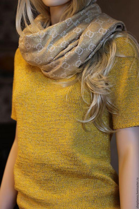 Футболки, майки ручной работы. Ярмарка Мастеров - ручная работа. Купить Женская футболка из хлопка с люрексом. Handmade. Желтый, зеленый