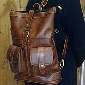 Сумки и аксессуары handmade. Livemaster - original item Backpack-leather bag 67. Handmade.