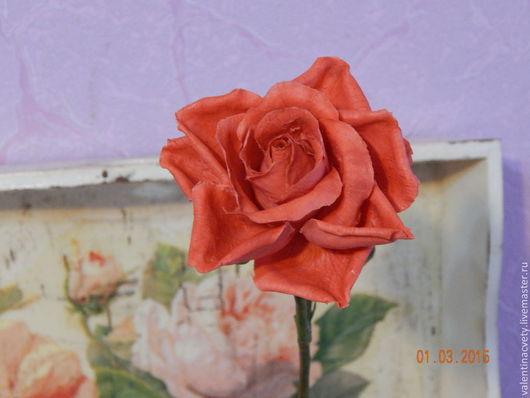 Цветы ручной работы. Ярмарка Мастеров - ручная работа. Купить Роза из холодного фарфора. Handmade. Ярко-красный, двухцветная роза