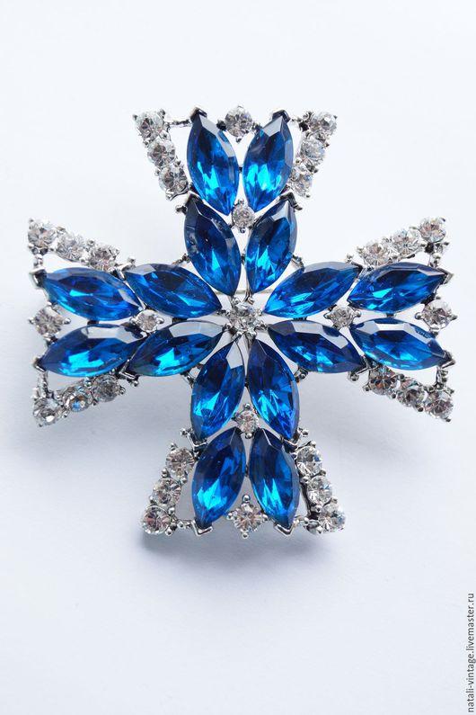 """Винтажные украшения. Ярмарка Мастеров - ручная работа. Купить Винтажная брошь """"Мальтийский крест"""", WEISS. Handmade. Синий, weiss брошь"""
