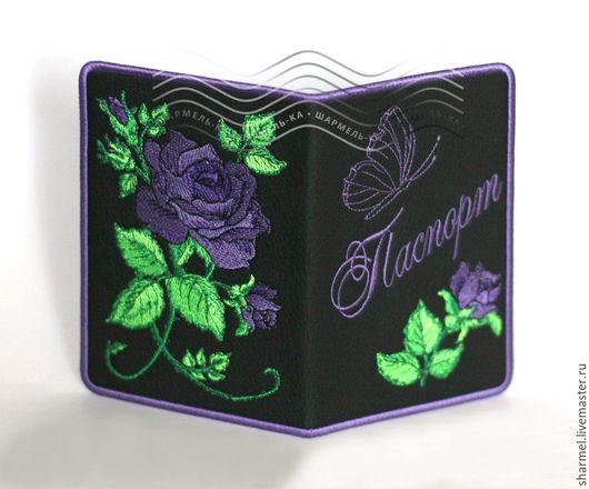 Обложка для паспорта вышитая `Фиолетовые розы`. Полезные вещицы от Шармель-ки.