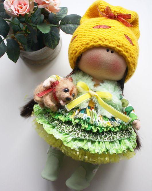 Куклы тыквоголовки ручной работы. Ярмарка Мастеров - ручная работа. Купить Дама с собачкой. Handmade. Кукла ручной работы, интерьер