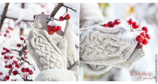 """Варежки, митенки, перчатки ручной работы. Ярмарка Мастеров - ручная работа. Купить Варежки """"Первый снег"""". Handmade. Белый"""