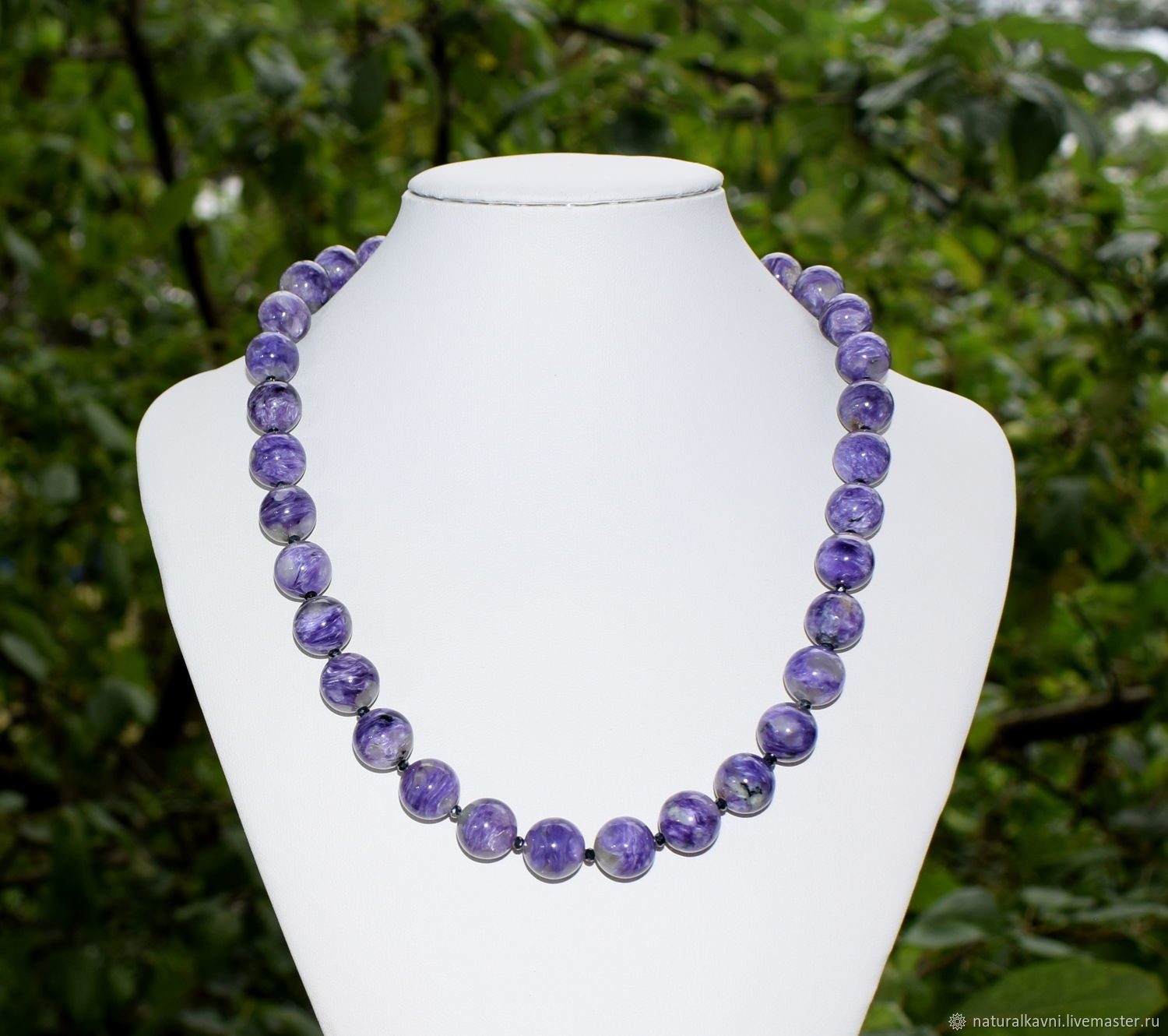 Beads natural stone charoite, Necklace, Moscow,  Фото №1