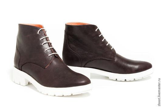 Обувь ручной работы. Ярмарка Мастеров - ручная работа. Купить Ботинки Peach. Handmade. Коричневый, натуральная кожа