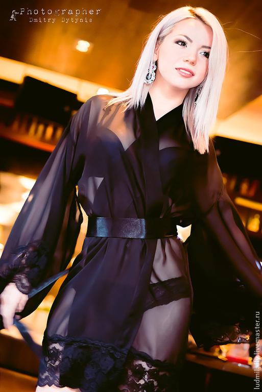 Черное шифоновое кимоно с широким атласным поясом. Эксклюзивное белье от Людмилы Маниной