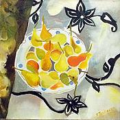 Картины и панно handmade. Livemaster - original item Picture. Pears on a plate. Handmade.