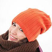 Аксессуары ручной работы. Ярмарка Мастеров - ручная работа Шапка носком бини женская оранжевая (синий, белый). Handmade.