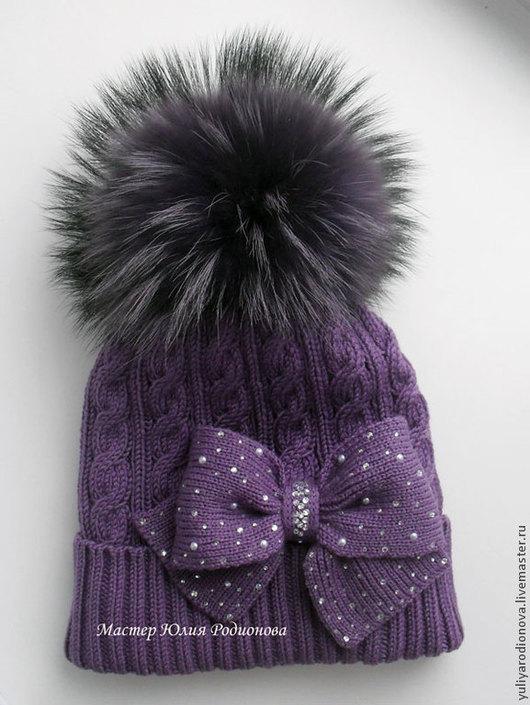 Шапки и шарфы ручной работы. Ярмарка Мастеров - ручная работа. Купить Зимняя шапочка для девочки. Handmade. Тёмно-фиолетовый, однотонный
