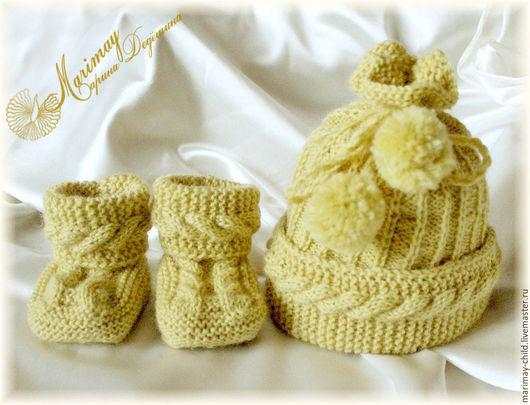 """Для новорожденных, ручной работы. Ярмарка Мастеров - ручная работа. Купить """"Молочный белый шоколад"""" комплект для новорождённого. Handmade. Новорожденным"""