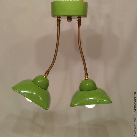 Освещение ручной работы. Ярмарка Мастеров - ручная работа. Купить Потолочный светильник с двумя плафонами на гибких трубках. Handmade.