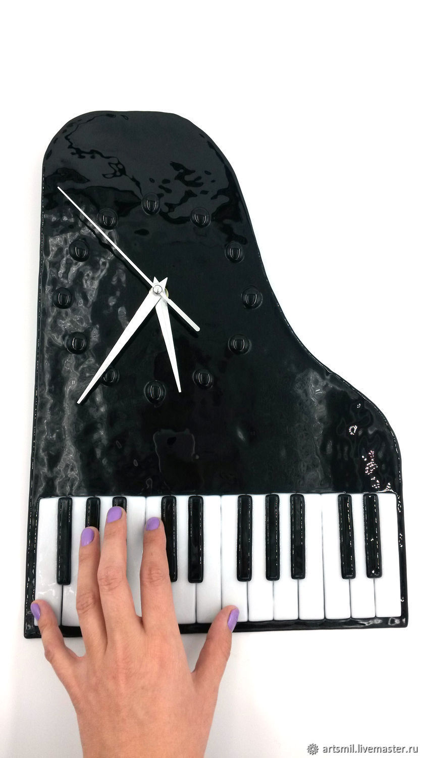 Watch The Piano. Gift music lover. Glass, Fusing, Watch, Moscow,  Фото №1