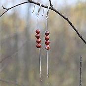 Украшения ручной работы. Ярмарка Мастеров - ручная работа Серьги из серебра 925 пробы с бусинами красной яшмы. Handmade.