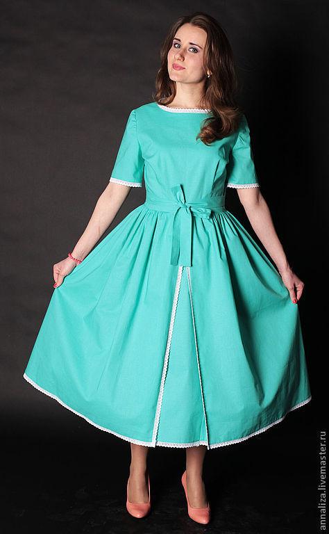 """Платья ручной работы. Ярмарка Мастеров - ручная работа. Купить Платье в стиле 50-х """"Мелисса"""". Handmade. Мятный"""
