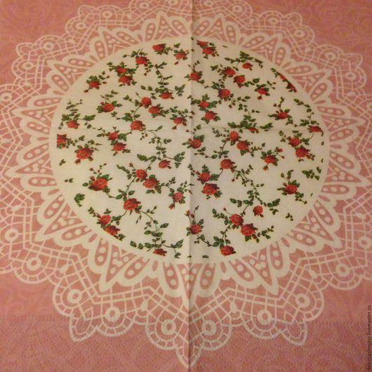 Салфетка для декупажа- нежные мелкие цветочки, ажурный орнамент, кружева Декупажная радость