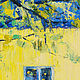 Анна Крюкова impression-живопись Весенний пейзаж с кошкой Желтый синий коричневый Окно и кошка Яркая картина в подарок Весенний пейзаж