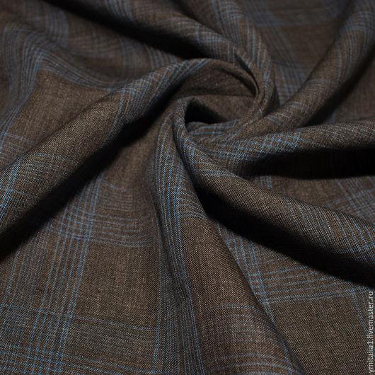 Шитье ручной работы. Ярмарка Мастеров - ручная работа. Купить Лен в клетку плательно-костюмный сине-коричневый LORO PIANA. Handmade.