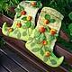 """Обувь ручной работы. Ярмарка Мастеров - ручная работа. Купить Валеночки домашние """"яблочки"""". Handmade. Зеленый, Валяние, домашняя обувь"""