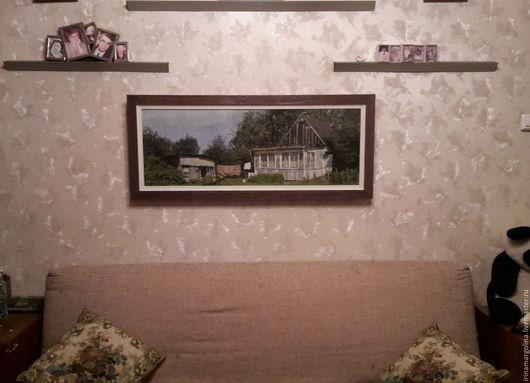 Фотокартины ручной работы. Ярмарка Мастеров - ручная работа. Купить Домик в деревне. Handmade. Черный, канва аида (aida) 14
