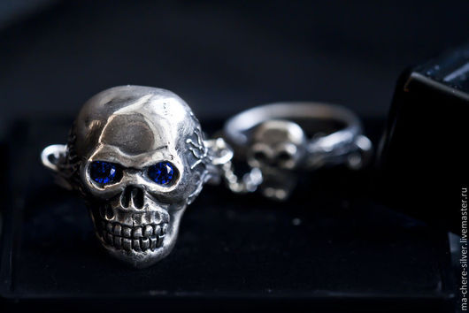 Готика ручной работы. Ярмарка Мастеров - ручная работа. Купить Серебряное кольцо на две фаланги ЧЕРЕП. Handmade. Серебряный, готика