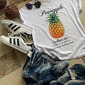 Одежда handmade. Livemaster - original item White cotton t-shirt with Ananas print - TEE10012CT. Handmade.