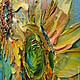 Пейзаж ручной работы. Картина маслом Солнце в лепестках. Ксения Дубинина (Жукова). Ярмарка Мастеров. Лимонный, рыжий, тёмно-зелёный