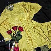 Одежда handmade. Livemaster - original item Silk set, Bathrobe blanket and babydoll with lace.. Handmade.