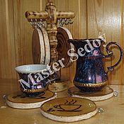 Сувениры и подарки ручной работы. Ярмарка Мастеров - ручная работа Набор подставок под кофейные чашки. Handmade.